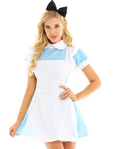 CHICTRY Damen Kostüm Dienstmädchen Kostüm Lolita Cosplay Uniform Kleid Erotik Babydoll Nachtkleid 3tlg. Sets mit Schürze und Bogen Haarreif Gr.M-XXL Hellblau (Dienstmädchen Uniform Kostüm)