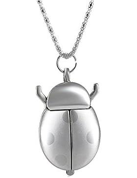 nette Taschenuhr Marienkäfer Form Quarz Anhänger Anhänger mit Kette Halskette (Silber) watch