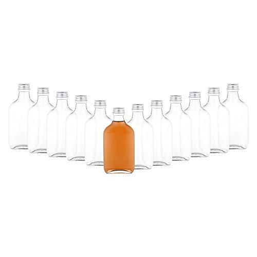 MamboCat 12er Set Taschenflasche 200 ml I Silberne Schraubdeckel I XL-Flachmann I Likörflasche I Schnapsflasche I Fläschchen für Alkohol, Spirituosen, Essig &Öl