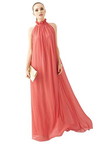 Vestito Lungo Donna Estivo Elegante Abito in Chiffon Collo Senza Maniche Vestiti per Spiaggia Partito Cocktail Cerimonia - Landove (Taglia unica, rosso)