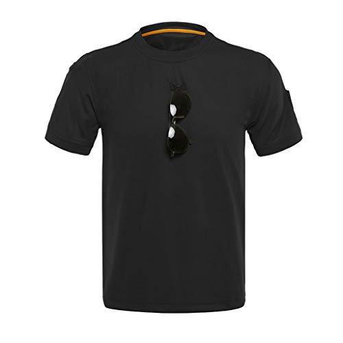 Tyoby Herren T-Shirt Loses taktisches elastisches, schnelltrocknendes mit rundem Halsausschnitt,Fitness Herrenbekleidung(Schwarz,XXXL)