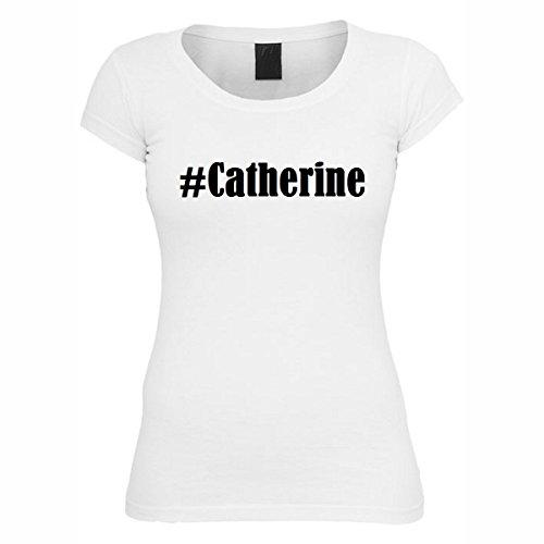 T-Shirt #Catherine Hashtag Raute für Damen Herren und Kinder ... in den Farben Schwarz und Weiss Weiß