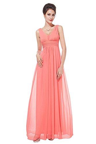 Gorgeous Bride Einfach V-Ausschnitte Empire Chiffon Lang Abendkleider Cocktailkleider Ballkleider Chiffon Wassermelone