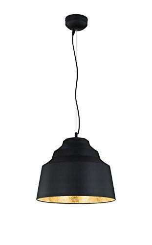Trio Leuchten LED-Pendelleuchte Naples, schwarz matt, innen Crash-Spiegel goldfarbig 376610302