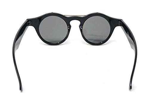 d053b0f4777e Ultra Black Frame Purple Mirrored Lenses Flip up Circle Steampunk High  Quality Goggles Glasses Retro Vintage Gothic Style Round Cyber UV400  Sunglasses