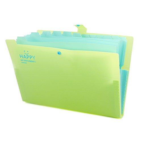 laconile A4Candy Farbe 12Lagen Fächermappe Organizer Wallet Schließen Dokument Taschen Portfolio Ordner für Zuhause oder Büro Dokumente Aufbewahrung 32.5*24*2.5cm gelb (Logo-leder-kette Geldbörse)