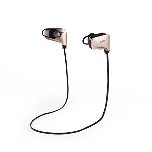 LESHP Auriculares Eestéreo Bluetooth 4.1 Impermeable Cascos Deportivos para Correr, con Tecnología APT-X para Smartphones, PC, tableta como iPhone, iPad, Samsung, HUAWEI, ect. color oro