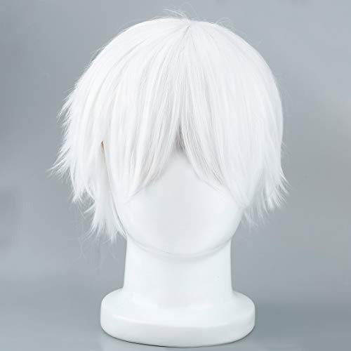 Male White Synthetic Perücke für Cosplay Anime Charaktere -