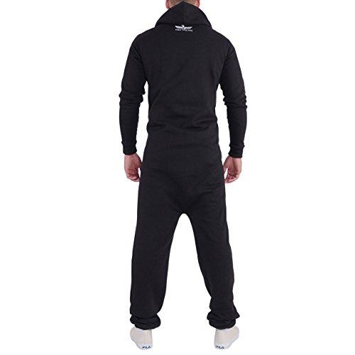 Finchman Herren Jumpsuit F1004 Loose Fit Baggy Overall Anzug Training Onesie Schwarz