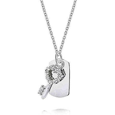 Bling Jewelry CZ Sterling Silver Dog Tag e chiave collana pendente 16in Incisione gratuita