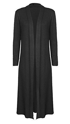 Manica lunga donna Cardi lunghezza Boyfriend Cardigan Maxi Plus Size UK 8–22 Black