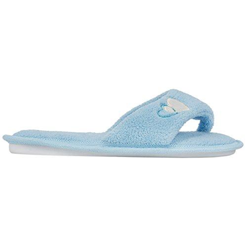 aerusi Damen Splash Spa Hausschuhe Plüschtiere Ultra leichte Weich Weich Für Haus/innen Blau - blau