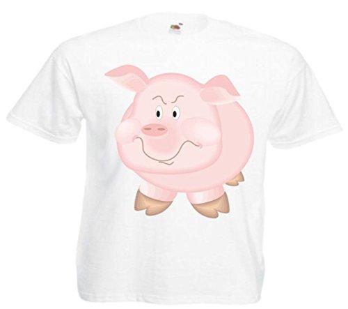 Motiv Fun T-Shirt Stirnrunzelndes Schwein Cartoon Spass Film Serie Weiß