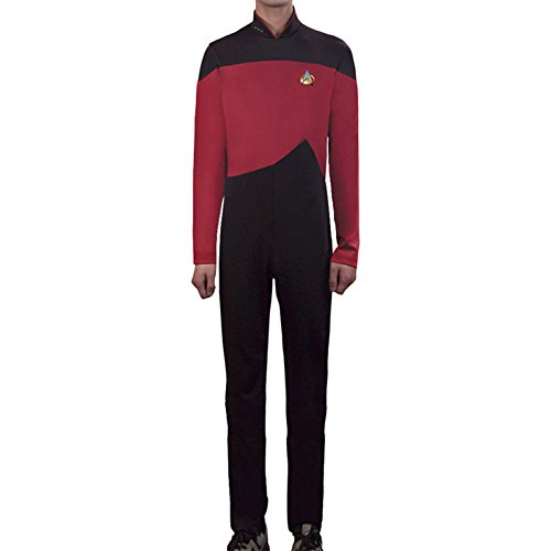 nihiug Star Trek Star TrekTNG Next Generation Cosplay Kapitän Jumpsuit Uniform,Red-XL