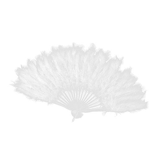 Weiß Flapper Kostüm - F Fityle Federfächer Spitzenfächer Handfächer Taschefächer Flappers Kostüm Zubehör Tanzfächer - Weiß, 40cm x 25cm