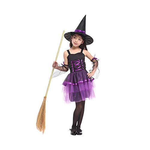 Yaxuan Hexenkostüm-Kids Halloween Fancy Dress Kostüm Halloween Magic Fancy Dress Up Party Karneval/Kindertag Festival/Urlaub Halloween-Kostüme,Purple,XL