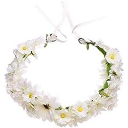 Lurrose Corona floral Cabello Corona Corona Crisantemo Guirnalda Diadema Nupcial para Holiady Fotografía de boda (Blanco)