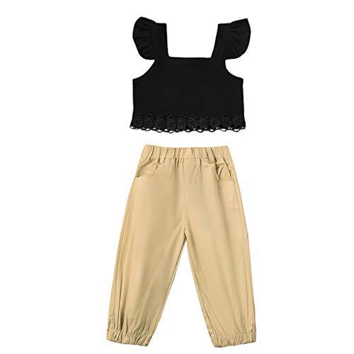 Zylione MäDchen Kleidung Set Kinder Baby Mode Kleine Fliegende ÄRmel Einfarbig Hemd + Hose Zweiteiliger Anzug