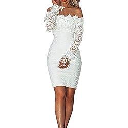 Mymyguoe Vestido Elegante del Partido de cóctel del Hombro de la Barra del Corte sólido de Las Mujeres del cordón Atractivo Vestido Floral de Fiesta de Noche Slim Fit Bodycon Vestido