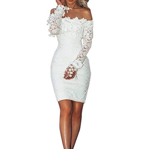BHYDRY Frauen-reizvolle Spitze-Fester Hieb-Ansatz Weg vom Schulter-Cocktailparty-eleganten Kleid(Small,Weiß) - Maxi-kleid Silber Glanz