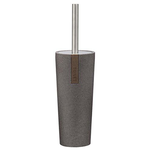 Sealskin 361870514 WC-Bürstengarnitur Pierra Badaccessoire, Polyresin / Plastik, grau, 9,7 x 9,7 x 35 cm