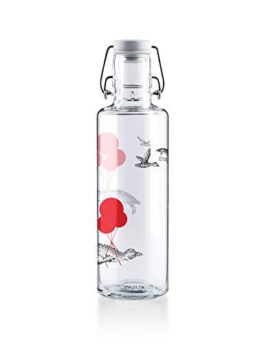Soulbottles 0,6l Trinkflasche aus Glas • Verschiedene Motive, Made in Germany, vegan, plastikfrei, BPA-frei, Glastrinkflasche, Glasflasche (Flug der Pinguine)