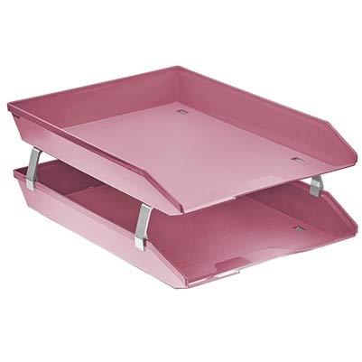 Acrimet Vaschetta Portacorrispondenza a Doppio Livelli Frontale (Colore Rosa)