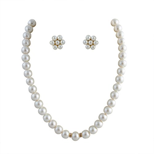 Classique Designer Silver Alloy With Gold Plated Round Pearl Necklace Set For Women(CP329)  available at amazon for Rs.99