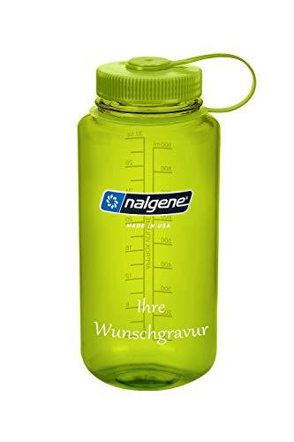 Nalgene Trinkflasche \'Weithals\' - 1 L (Grün, mit Namensgravur, 1 Liter)