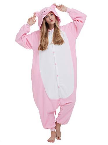 Erwachsene Kostüm Schwein Für Unisex - Jumpsuit Onesie Tier Karton Fasching Halloween Kostüm Lounge Sleepsuit Cosplay Overall Pyjama Schlafanzug Erwachsene Unisex Rosa Schwein for Höhe 140-187CM