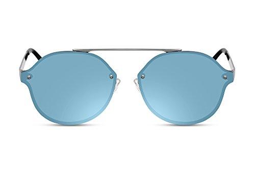 Cheapass Sonnenbrille Rund-e Aviator Blau Verspiegelt Flach-e Designer-Brille UV-400 Metall-Rahmen Damen Herren (Breite Metall-rahmen)