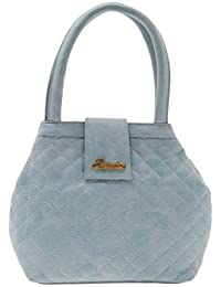 ESBEDA Light Blue Checks Pu Synthetic Material Handbag For Women