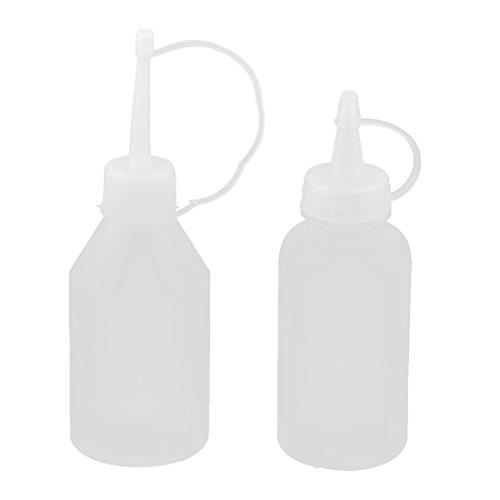 sourcing map Kunststoff Öl Wasser Squeeze Flaschen Quetschflaschen klar weiß 2 in 1 Set DE de (Große Squeeze Flasche Wasser)