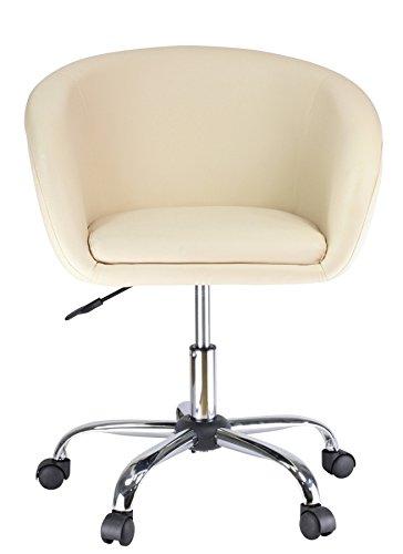 Drehstuhl mit Rollen Creme Schreibtischstuhl Arbeitshocker aus Kunstleder Hocker Kosmetikhocker Duhome 0543