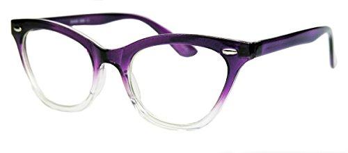 50er Jahre Damen Brille Cat Eye Nerdbrille Katzenaugen Hornbrille clear lens Farbverlauf (Purple Ombre) (Kleider Ombre Party)