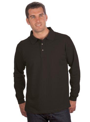 Pique Langarm Polo-shirt (QUALITYSHIRTS Langarm Polo Shirt, Gr. 5XL, schwarz)