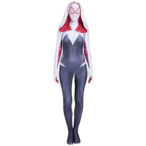 TENGDA Erwachsene Kinder Spider-Man Frauen Spiderman Cosplay Kostüm Kinder Erwachsene Kostüm Spider-Gwen Rollenspiel Kleidung Body Spandex Overalls Adult-XL,Adult-XL
