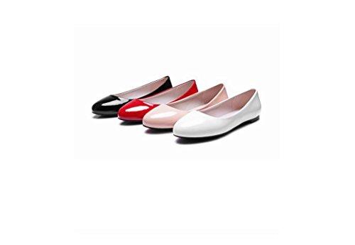 Beauqueen Pumps Mocassins Femmes Printemps Et Eté Plaine Femmes Rondes Toe Blanc Rouge Noir Rose Loisirs Loisirs Chaussures Europe Taille 31-52 Red