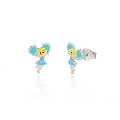 Pour enfant en argent sterling 925 Bleu pom-pom girl Fille Boucles d'oreille à tige/boîte cadeau