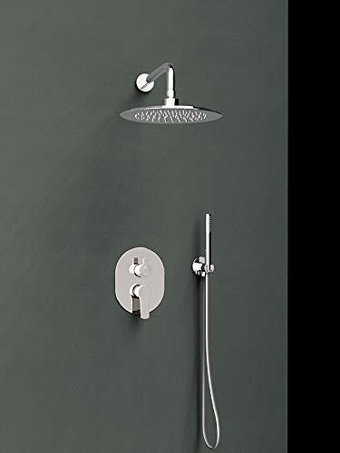 Ramón Soler k1815021 ensemble mitigeur Encastré 2 voies avec support Plus prise d'eau, pommeau de douche et Brumisateur Mural ABS Ø. modèle Titanium, chrome