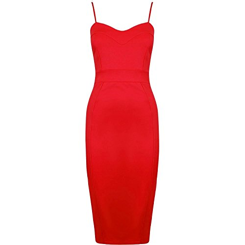 Fast Fashion Frauen Kleid Plain Strappy Bodycon Midi
