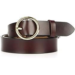 Cinturón de cuero para mujer Nueva llegada 1.1 pulgadas de ancho Cinturón de dama Correas de cuero genuino de la vendimia para los pantalones vaqueros vestido (Café Oscuro-Hebilla Dorada)