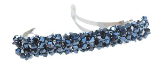 Rectangulaire pour barrettes de mariée en strass en cristal pour homme Bleu marine
