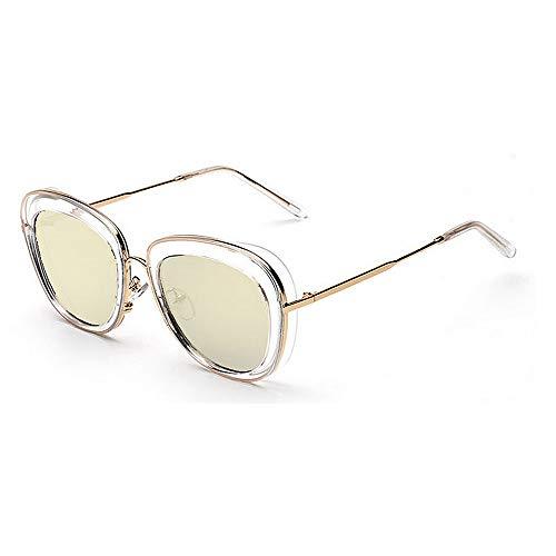 Yiph-Sunglass Sonnenbrillen Mode Stilvolle klare Rahmen umrandeten Unisex-Erwachsene Sonnenbrillen UV-Schutz farbige Linse Outdoor Driving Reisen Sommer Strand (Farbe : Gold)