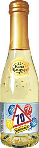 AV Andrea Verlag Zum 70. Geburtstag für Frauen Piccolo Sekt 22 Karat Blattgold Goldflocken Gold 0,2 l, 10{5f0a0936aed482535b86c21b03c70971d0f5498ba21fcada5119104f13e08ea9} vol. mit Hochglanzetikett das prickelnde Lifestyle Getränk Alles Gute Happy Birthday