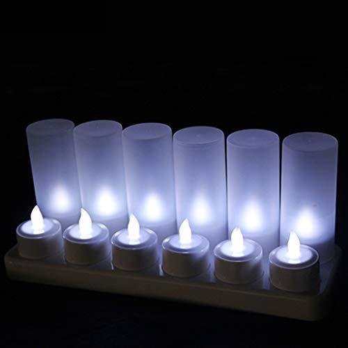 ADAHX LED-Kerzen, Flameless Candles, Safe Smokeless Cold White Light wiederaufladbare Tee-Candle Holder for Party, Bar, Festliche Geschenkdekoration (12pcs),White