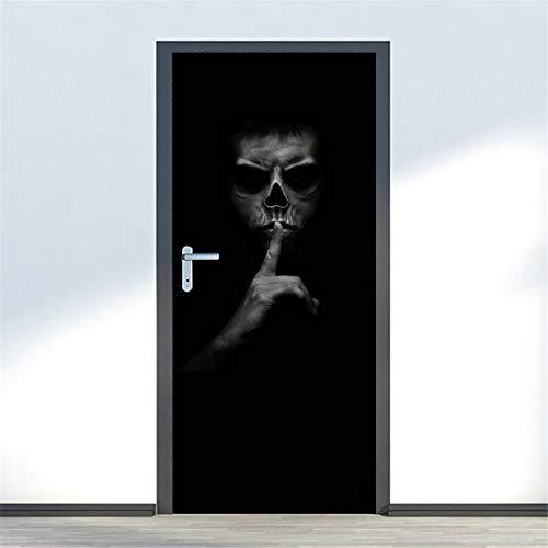 Yongqiang Halloween Wandaufkleber Umweltfreundliche Abnehmbare PVC Wasserdichte Fenster Aufkleber Wanddekoration 3D Simulation Tür Aufkleber Düster Horror DIY Aufkleber 77 * 200 cm