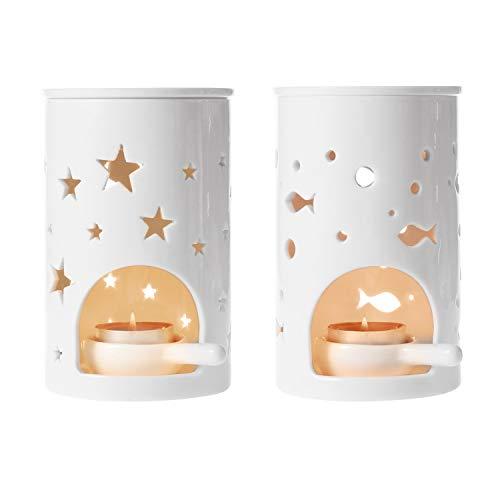 ComSaf Duftlampe Keramik Weiß mit Kerzenhalter 2er-Set - Fischmuster und Sternenmuster