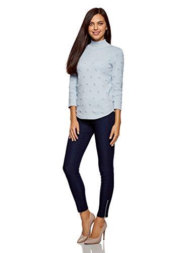 oodji Ultra Damen Strukturierter Pullover mit 3/4-Arm Blau (7000N)