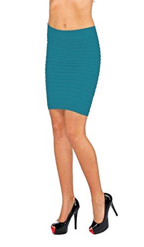 jowiha Damen Stretch Bandage Minirock in verschiedenen Farben Einheitsgröße XS/S/M 34-40 Hellblau